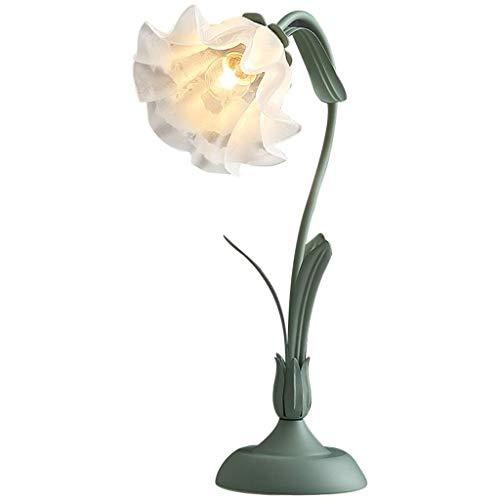 SPNEC Lámpara de Tabla del Escritorio de la lámpara de la Vendimia, Hecha a Mano Retro Base de Madera, Exquisito Blanco como la Leche Mangnolia Bloom Sombra Forma Looking Glass, Estilo Antiguo