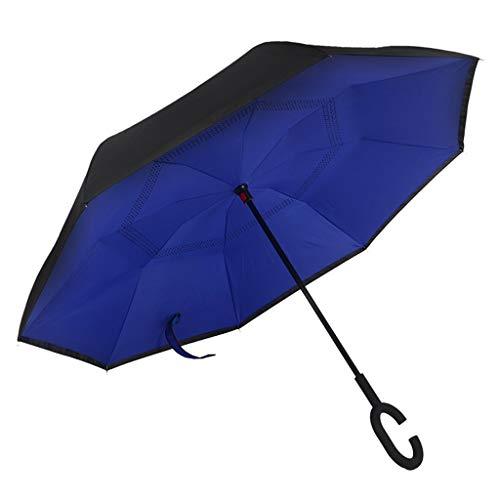 Opvouwbare paraplu paraplu omkeerbaar/omkeerbaar, lange winddichte paraplu dubbele laag binnenstebuiten zelfstaand met 8 ribben, voor vrouwen en mannen