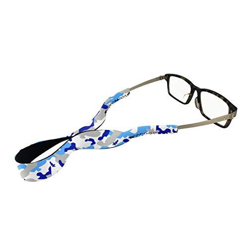 UZZUHI Camo Anti-slip Neoprene Glasses Straps Elastic Soft Eyewear Retainer Floating Eyeglasses Sunglasses Holder for Kids Adult Sports Camouflage Blue and Grey