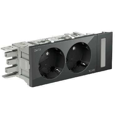 Schneider INS62003 dubbel stopcontact OSI grijs DATA-markering voor OptiLine 50