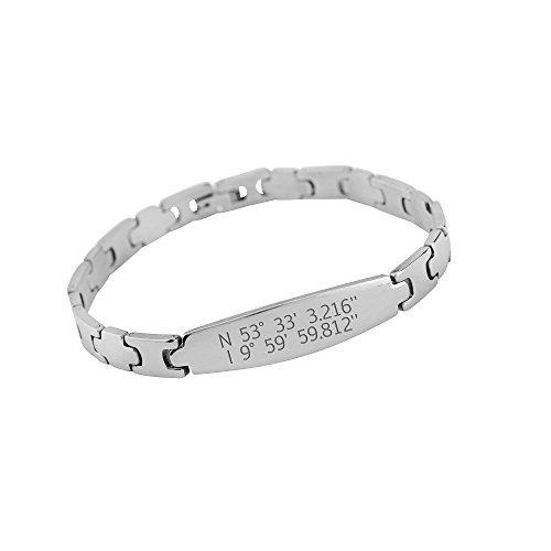 Graviertes Koordinaten-Armband / Edelstahlarmband mit den Koordinaten eines Ortes Ihrer Wahl - Geschenk für Männer & Frauen - Weihnachts-, Geburtstags-, Valentinstagsgeschenk für Paare & Verliebte