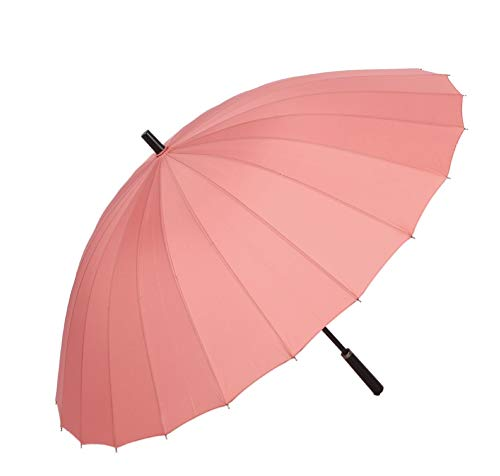 Paraguas de Gran tamaño Doble 24 acciones Paraguas Comercial Paraguas Paraguas Recto Paraguas publicitario Paraguas Mango Largo (Rosa, Morado, Azul, Negro, café, Verde Oscuro) (Color : Pink)