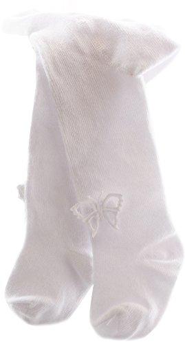La Bortini Baby/Kinder Strumpfhose mit Schleife/Schmetterling Weiß festlich Taufe (68-74)