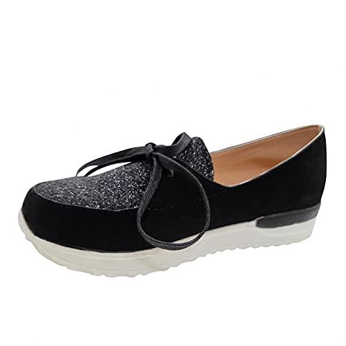 Fitzac Zapatos para mujer con suela gruesa y color sólido, luz aumentada,...