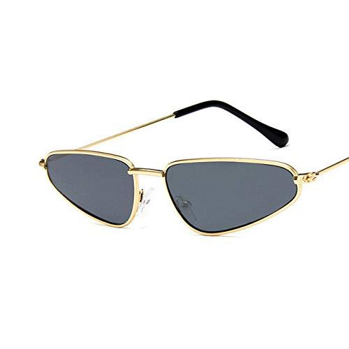 ZJMIYJ zonnebril, kleine kattenoog zonnebril vrouwen vintage metaal gevormde oceaan retro zonneglas drop spiegel Oculos De So gouden rand