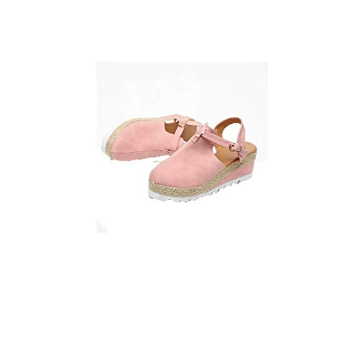 New Espadrilles Sandals for Women, Summer Platform Wedges Shoes Ladies Casual Closed Toe Ankle Strap Sandal With Buckle