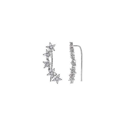 Damen-Ohrringe Rettungsring Silber Sterne Größe 6 x 22 mm