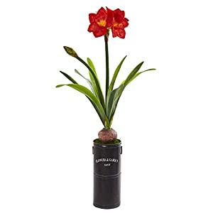 "Nearly Natural 40"" Amaryllis Artificial Garden Planter Silk Plants Red"