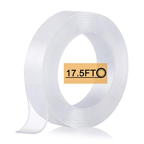 Nano Double Sided Tape (17.5FT), Heavy Duty Wall Tape Adhesive Strips Removable Mounting Tape, Washable Strong Sticky Transparent Tape Gel Poster Carpet Tape for Hang Picture, Home Office Use