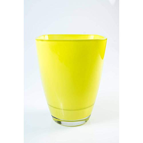 INNA-Glas Lot 2 x Vase carré en Verre Yule, Vert Clair, 17 x 13 x 13cm - 2 pcs Vase à Fleurs - Vase Design