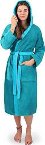 normani Damen Frottee Baumwoll Bademantel - Saunamantel - zweifarbig mit Kapuze [Gr. XS - 4XL] Farbe Petrol/Türkis Größe 4XL