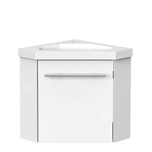 Aica Sanitär Eckwaschtisch 40 cm Eckschrank Vormontieren Waschbecken mit Unterschrank Waschtisch kleinmöbel Weiß