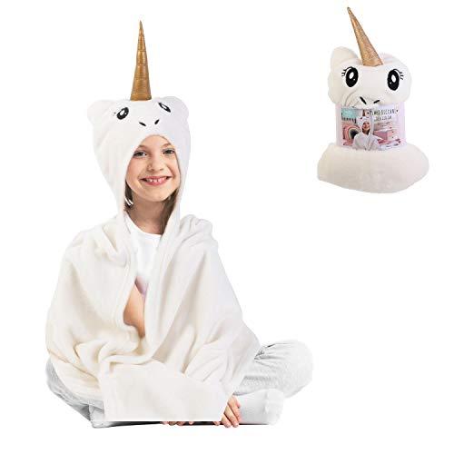 Hello Kids Manta Cobertura tartán Unicornio niño bebé 90 x 110 cm con Capucha Cabeza Unicornio Blanco Muy Suave