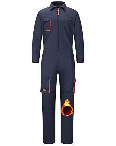 Jkroling Herren Arbeitskleidung Overall mit mehreren Taschen, robuste Polybaumwolle, Schutzhose für Mechaniker, Boileranzug (M, marineblau (Warm/dick))