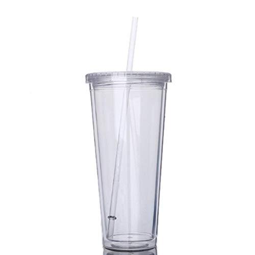 greenwoodhomer 650 ml Reisebecher mit Strohhalm, Kunststoff, für Fruchtsaft, Wasserflasche, versiegelter Becher, doppellagiger Kunststoff