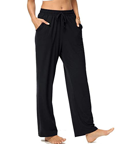 Junyovin Women's Lounge Pants with Pockets Wide Leg Loose Comfy Stretch Running Workout Yoga Sports Pants Black, XX-Large