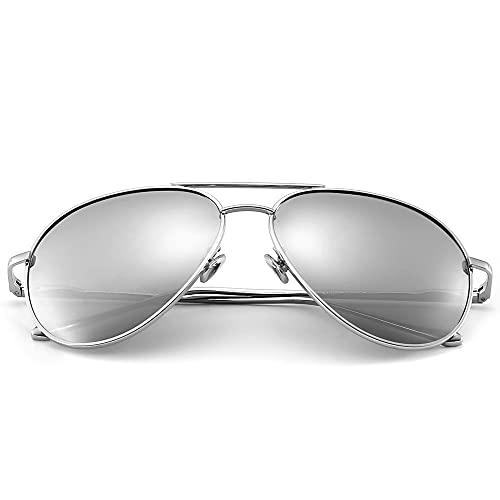 SUNGAIT Gran Tamaño Gafas de Sol Ligeras para Mujer con Lente Polarizada Espejada(Plateado/Plateado)-SGT603