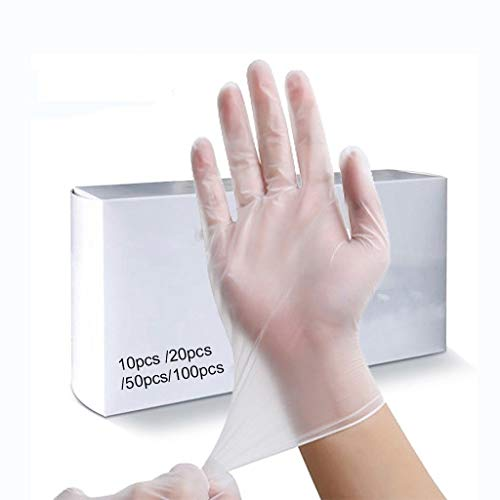Chu 200 guantes desechables de PVC transparentes, guantes de látex para limpieza del hogar, guantes de nitrilo, para alimentos, caucho, jardín, universal, dentro de la caja, 10 unidades., Medium