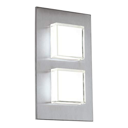 EGLO LED Außen-Wandlampe Pias, 2 flammige Außenleuchte, Wandleuchte aus Edelstahl, Farbe: Silber, IP44
