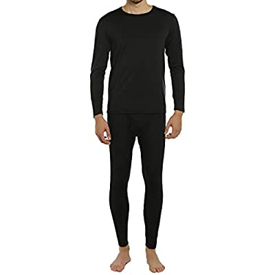 ViCherub Men's Thermal Underwear Set Long Johns with Fleece Lined Base Layer Thermals Sets for Men Black