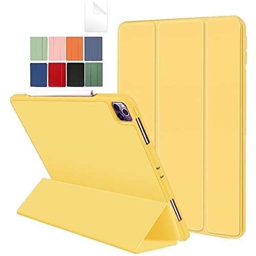 QiuKui Tab Cover For iPad Pro 11 2nd Generation, Tablet Protective Shell Pencil Holder Case for iPad Pro 11 2nd Generation 2020 A2228/A2068/A2230/A2231 (Color : Yellow)