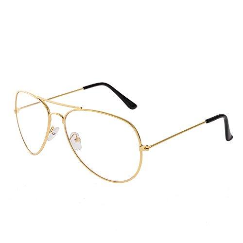 Forepin® Occhiali in Metallo Retrò aviatore Occhiali Decorativo con Lenti Trasparenti per Uomo Donna (Oro)