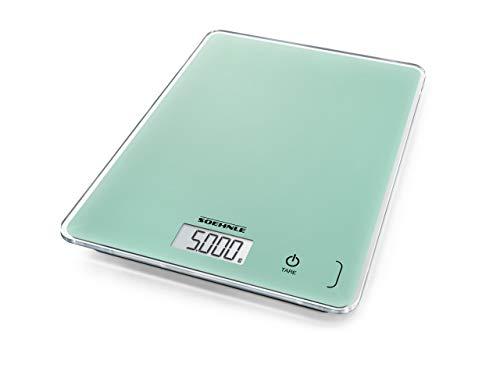 Soehnle Page Compact 300, digitale Küchenwaage, Minze, Gewicht bis zu 5 kg (1-g-genau), Haushaltswaage mit patentierter Sensor-Touch-Funktion, elektronische Waage inkl. Batterien,