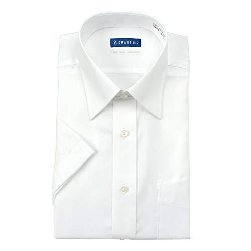 [スマートビズ] ノーアイロン 半袖 ワイシャツ 洗って干してそのまま着る 綿100% の優しい着心地 クールビズスタイルでかっこいいデザイン シーンを選ばない 高形態安定 EHTO01 メンズ 05 ホワイト ツイル セミワイド 首回り43cm