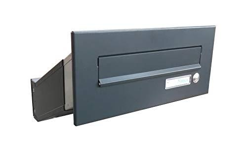 D-041 Anthrazit (RAL 7016) Mauerdurchwurf Briefkasten mit Klingel (Tiefe: 23-38 cm) - LETTERBOX24.de