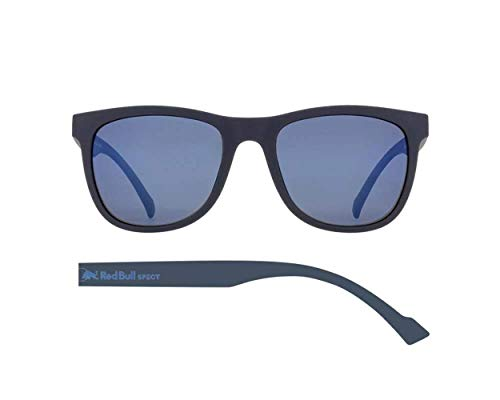 Red Bull Spect Lake Sunglasses One Size Matt Dark Blue Rubberised ~ Smoke Blue Mirror