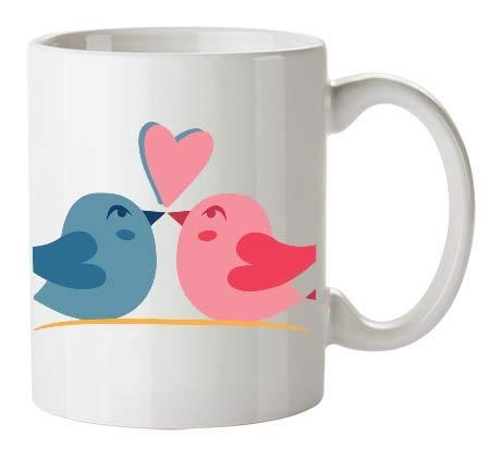 Kembilove Tazas de Desayuno para Parejas – Taza de Café con Dibujo y Frase Original Pájaros Azul y Rosa – Tazas para Regalar el día de los Enamorados – Regalos Originales San Valentín
