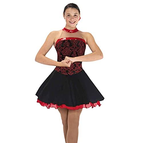 Vestido de patinaje artístico, para mujer, profesional, de alto elástico, sin mangas, con diamantes de imitación, para entrenamiento de competición, color negro, S