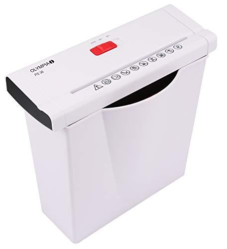 Olympia PS 36 Papierschredder Büro (Streifenschnitt, Sicherheitsstufe P2, Automatischer Einzug, Papiervernichter mit Papierkorb, Dokumenten-Shredder mit Teleskoparm) weiß