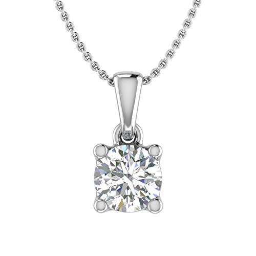 1/2 Carat 4-Prong Set Diamond Solitaire Pendant Necklace in 10K White Gold (Silver Chain Included)