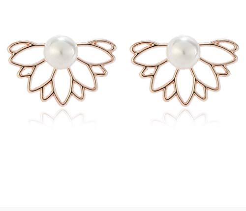 Pendientes delanteros y traseros de loto perla para mujer, exquisitos pendientes, pendientes B