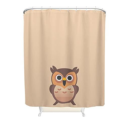 Cortina de ducha, diseño de búho, regalo para los amantes de los búhos, estilo moderno, poliéster – Bonitas imágenes de animales, para cortinas de baño, incluye ganchos, color blanco, 180 x 200 cm
