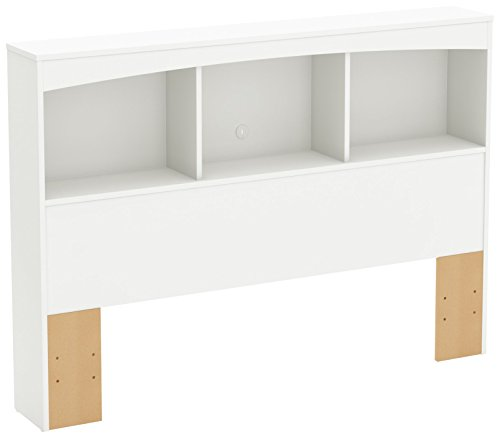 South Shore Step One Bookcase Headboard Pure White, Contemporary