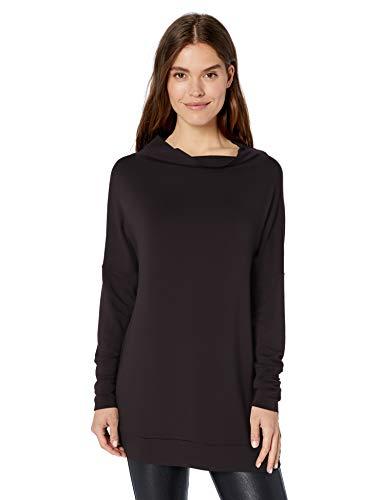 Amazon-Marke: Daily Ritual Damen-Tunika aus weichem Frottee, mit modernem Trichterausschnitt, Black, US S (EU S - M)