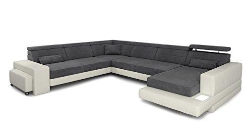 Bullhoff by Giovanni Capellini Sofa Couch Wohnlandschaft Leder XXL Designsofa Stoff Ecksofa U-Form mit LED-Licht Beleuchtung Imola