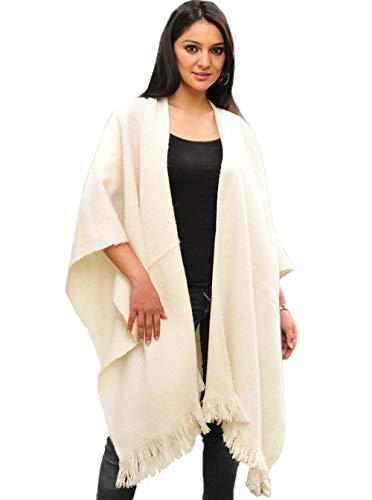 Gamboa Handgefertigt Weiß Alpaka Poncho
