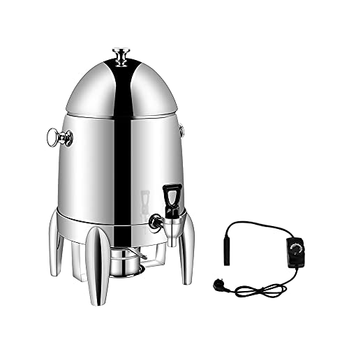 Calentador de bebidas 10L Acero inoxidable / PC Cafetera Cuatro postes espesado Buffet Leche Olla Calefacción eléctrica Transparente Bebida Juice Pot Comercial (stainless)