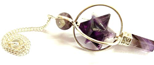 Amethyst Star Spinning Merkaba Pendulum Sacred Geometry Platonic Solid Healing Genuine Gemstone Crystal Point Metaphysical Spiritual Chakra Balancing Divine Gift Love Pagan Blessings Luck w/Pouch