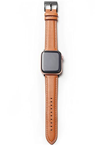 Leather Bands Compatible with iWatch Band 38mm 40mm 42mm 44mm, Retro car line top leather apple leather strap for iWatch Series 6/5/4/3/2/1, iWatch SE Men and Women. (brown, 42-44mm)