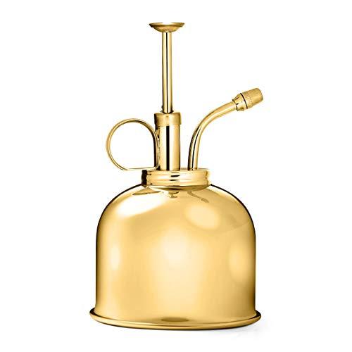 CKB LTD Pulido de latón macizo de 300 ml, estilo vintage, botella pulverizadora de interior clásica de alta calidad, con bomba superior de riego de calabaza para plantas de aire, orquídeas y más