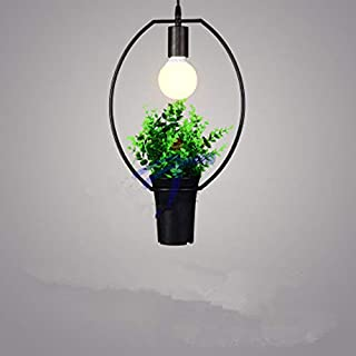 HUIFEIDEYU 220V LED Industrial Antique Wrought Iron Green Plant Pendant Light for Kitchen Restaurant Hotel Ceiling Lamp with Bulb Olive