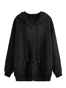 SHEIN Women s Long Sleeve Drawstring Drop Shoulder Zip Up Hoodie Sweatshirt Black M