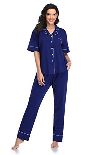SHEKINI Pijamas Mujer Verano Algodon Manga Corta Conjunto Camiseta y Pantalones Ropa de Casa 2 Piezas