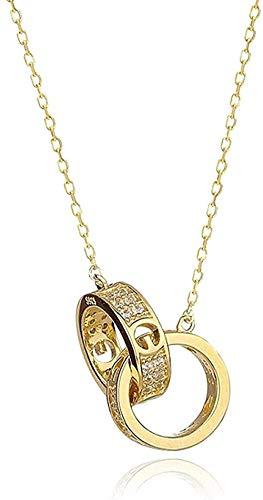banbeitaotao Collar Colgante S925 Anillo de Plata Círculo Cadena de clavícula Joyería de Cuello Simple Femenina para Enviar Amigas amigables Regalo de cumpleaños