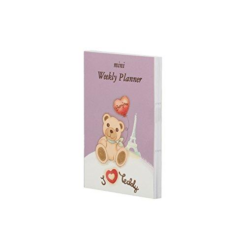 THUN ® - Mini Weekly Planner Parigi - Linea Teddy on The Road - 10,5 x 7,5 x 0,8 cm