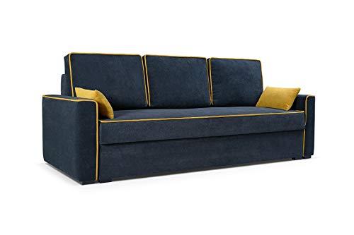 mb-moebel Sofa Couch mit Schlaffunktion und Bettkästen Wohnzimmer Schlaffsofa FLOS (Anthrazit)